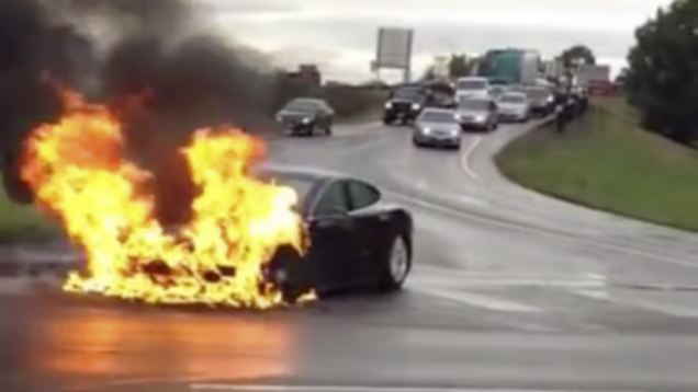 A battery powered Tesla explodes, should we ban them too?